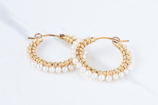 [PE] Freshwater pearl《M》Basic Hoop Pierced Earringの画像1枚目