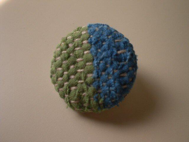 裂き織りブローチ『グリーン&ブルー』の画像1枚目