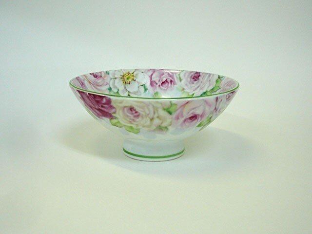 薔薇のお茶碗(M)グリーンの画像1枚目