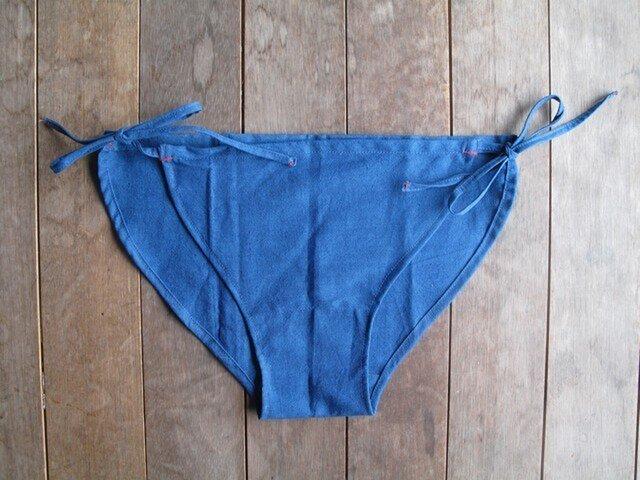 藍染め綿ふんどしパンツ(両結びタイプ)Lsizeの画像1枚目