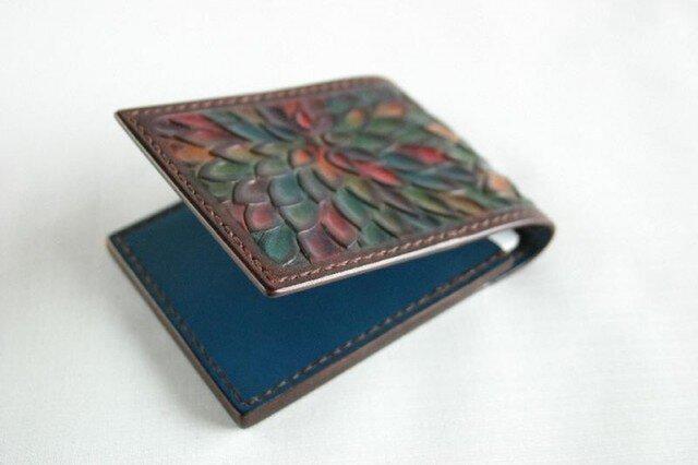 手染め手縫い革の名刺入れ 花の画像1枚目