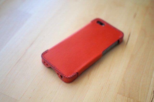 iPhone5s/5 レザーケース(レッド×ホワイト)の画像1枚目