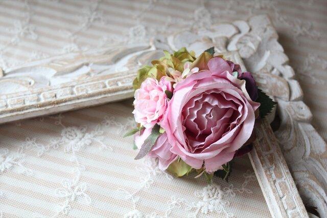 ピンク系ローズのコサージュ&髪飾りの画像1枚目