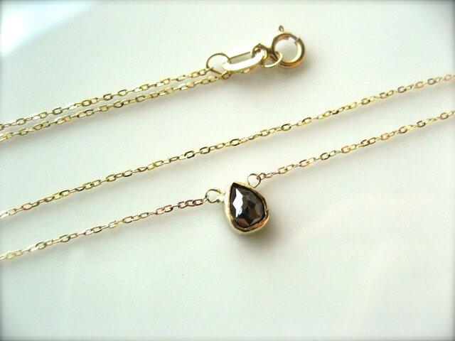 チョコレートダイヤしずくネックレス for nicobeeの画像1枚目