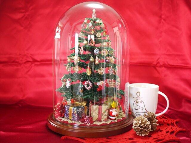 ビーズのクリスマスツリー(グリーン)サイズ(L)の画像1枚目