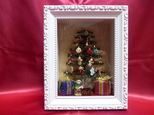 ビーズのクリスマスツリー(グリーン)サイズ(M)【額入り】の画像1枚目