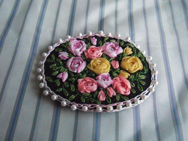 薔薇のリボン刺繍髪どめ[A-9]の画像1枚目
