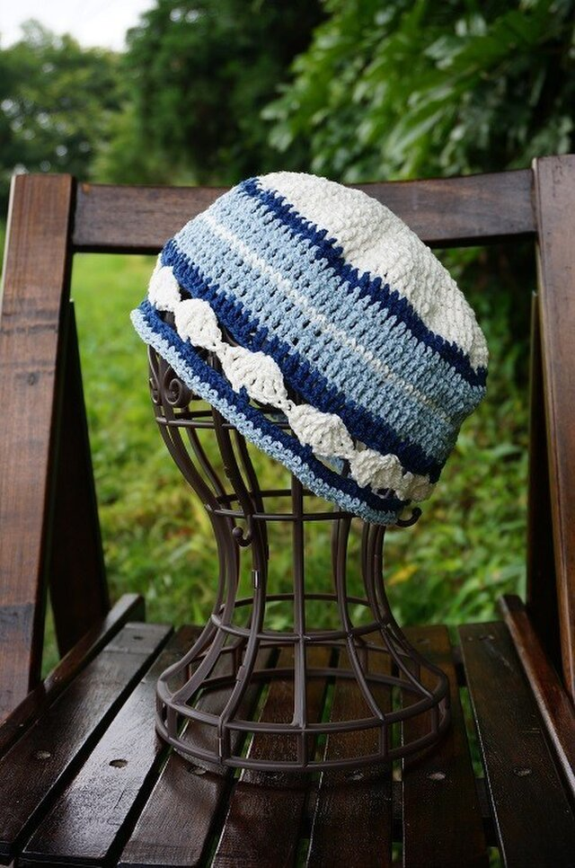 かぎ針編みの夏色マリン帽子・2の画像1枚目