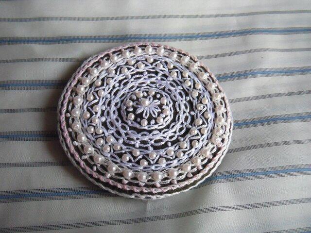 レース風パール刺繍髪飾り[B-2]の画像1枚目