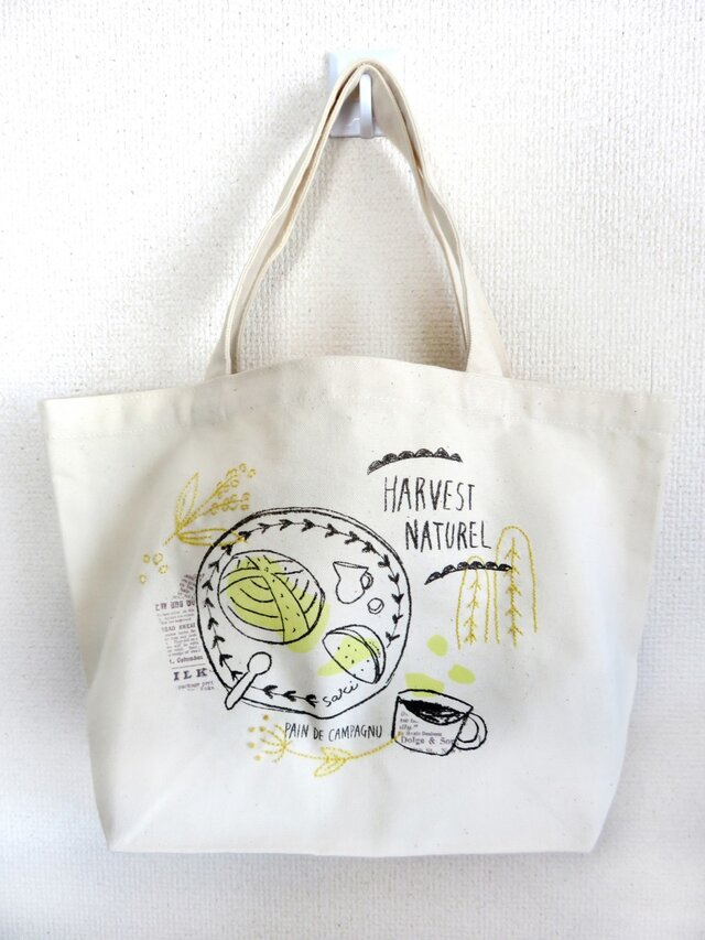 【再販】手刺繍 コットンバッグ(カンパーニュ)の画像1枚目