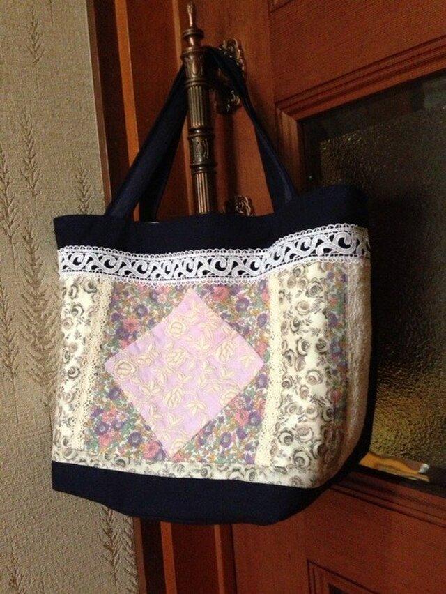 PJC薔薇刺繍パッチワーク帆布バッグ2の画像1枚目
