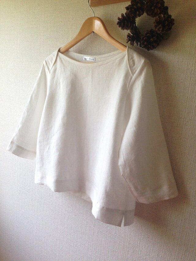 【ご予約商品】ホワイトリネン シンプルブラウス 七分袖の画像1枚目