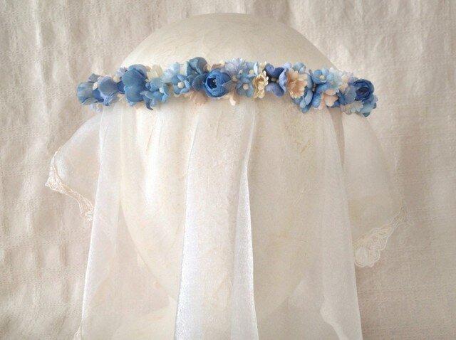 染め花の花冠(スリムタイプ、ブルー)の画像1枚目