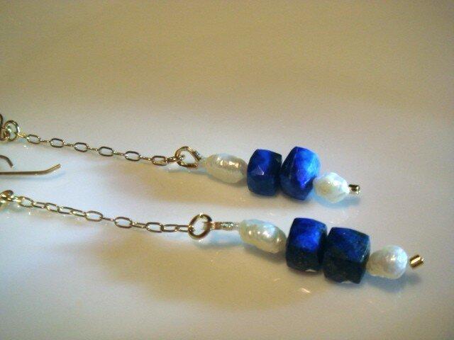 Sodalite & water pearl pierceの画像1枚目