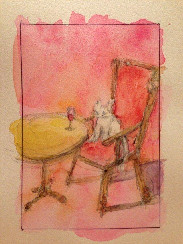 オリジナル水彩画「待ち待ちニャン」の画像1枚目