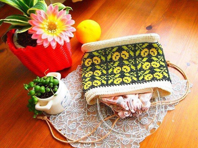 ビーズ編み浴衣バッグ - マリーゴルドの画像1枚目