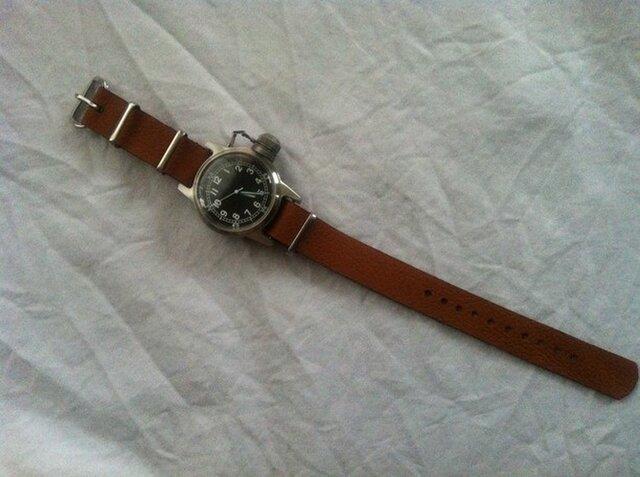 送込 シュリンクレザーの時計ブレス 18㎜の画像1枚目