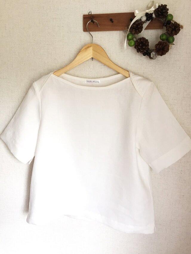 【ご予約商品】ホワイトリネン シンプルブラウスの画像1枚目