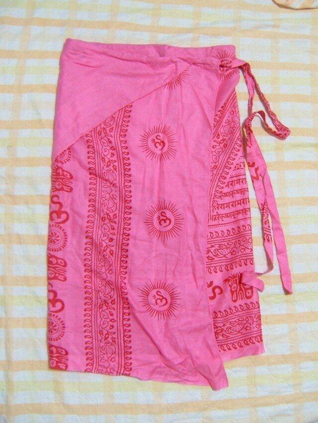 インド布の巻きスカート ピンクの画像1枚目