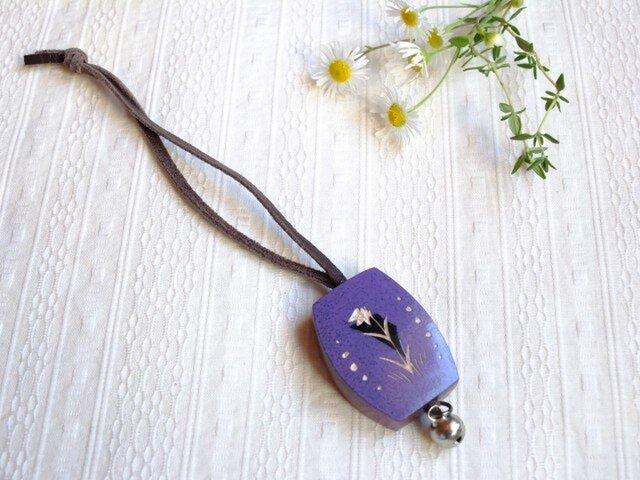 木製 鈴つき キーボルダー(紫:ピンク)の画像1枚目