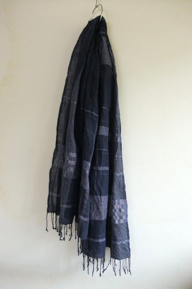 手紡ぎ 手織り インディゴ リネンストール 22の画像1枚目