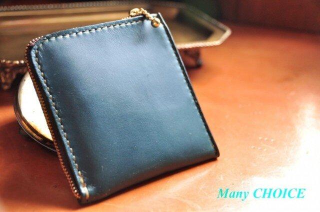 スムースプルアップレザー・L型財布(ブルーグリーン)の画像1枚目