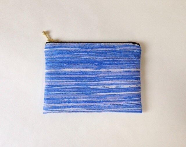 絹手染ポーチ(横青)の画像1枚目