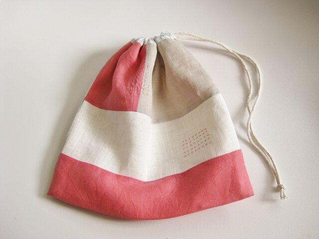 リネンの巾着袋 pinkの画像1枚目