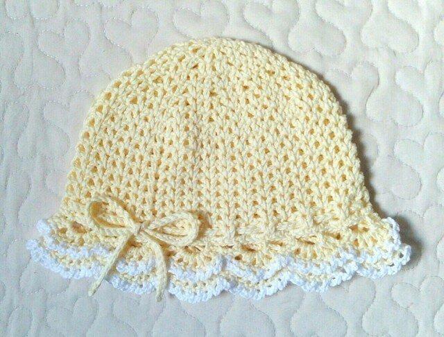 フリルのお帽子   ~ 46cm    クリームレモンの画像1枚目