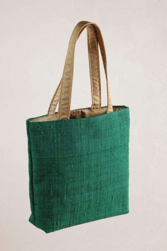 手織り紬 トートバッグ(グリーン)の画像1枚目