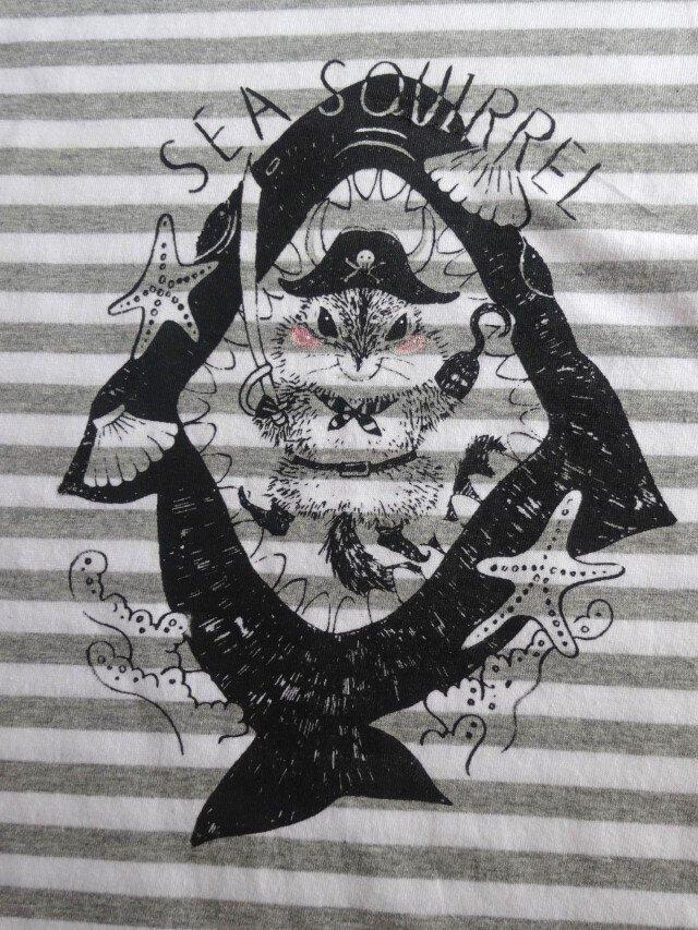 【新作】海賊 リス ボーダー Tシャツの画像1枚目