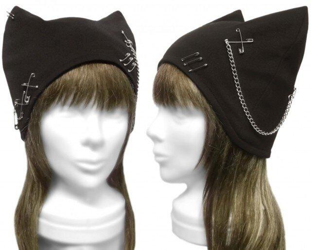 パンク[チェーン&ピンクロス]  ネコ耳帽子◆コットンニット/ブラックの画像1枚目