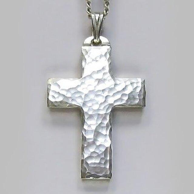 シンプルなラテン十字架 槌目光沢仕上げの幅広の小さなクロス cc18 好評ですの画像1枚目