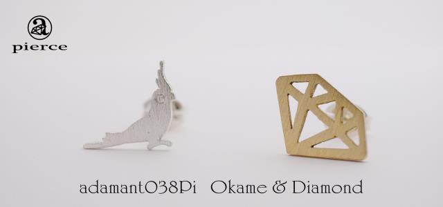 Okame & Diamond ピアス【adamant】の画像1枚目