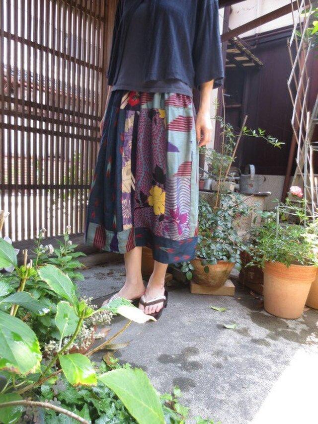 着物スカート☆柔らか涼しい薄手銘仙等で♪80㎝丈の画像1枚目