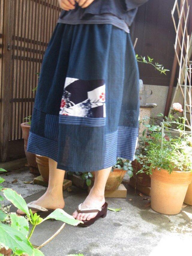 サラサラ夏着物でリメイクスカート☆縦縞の織りと可愛い撫子76㎝丈の画像1枚目