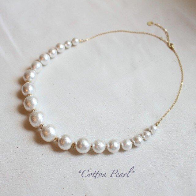 *ホワイトCotton Pearl* 一連ネックレスの画像1枚目