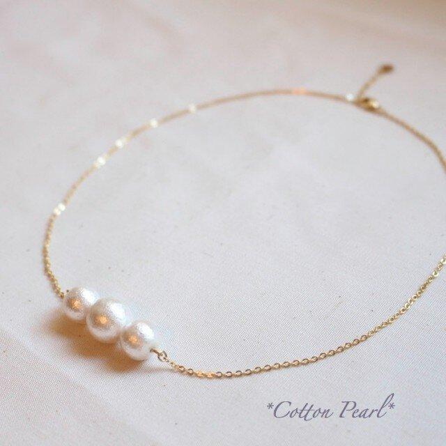 *ホワイトCotton Pearl* ネックレスの画像1枚目
