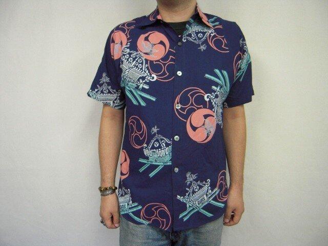 浴衣反物リメイクシャツ(三つ巴紋に神輿)の画像1枚目
