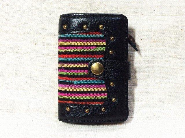 姫路レザーと正絹裂織のコインケース付きキーケース NO,1の画像1枚目