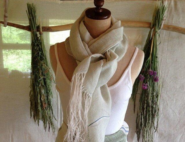 手織りリネンストール ミントグリーンの画像1枚目