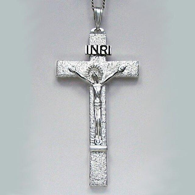 受難像(イエス・キリストの十字架像) 罪状書と足台の付いた大きな受難像 pc33 好評ですの画像1枚目