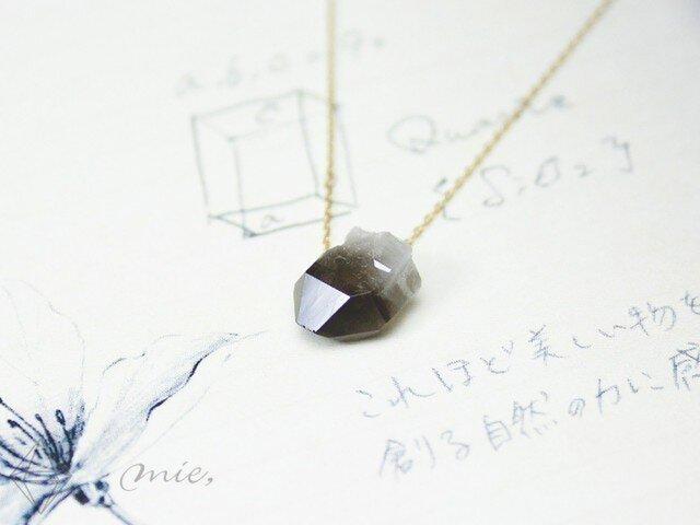 K10◆まるで煙の結晶 スモーキークォーツ原石ネックレスの画像1枚目