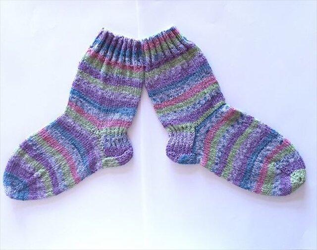 【再販】手編み靴下パープル系・綿素材(22~24cm)の画像1枚目