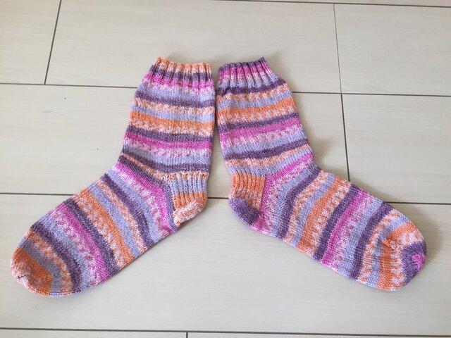 手編み靴下・綿素材3の画像1枚目