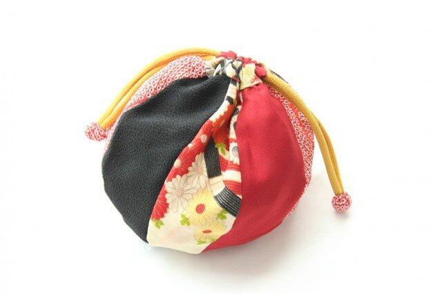まり巾着 赤絞りの画像1枚目