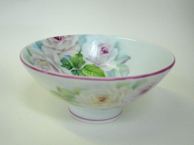 薔薇のお茶碗内側3輪(S)ピンクの画像1枚目