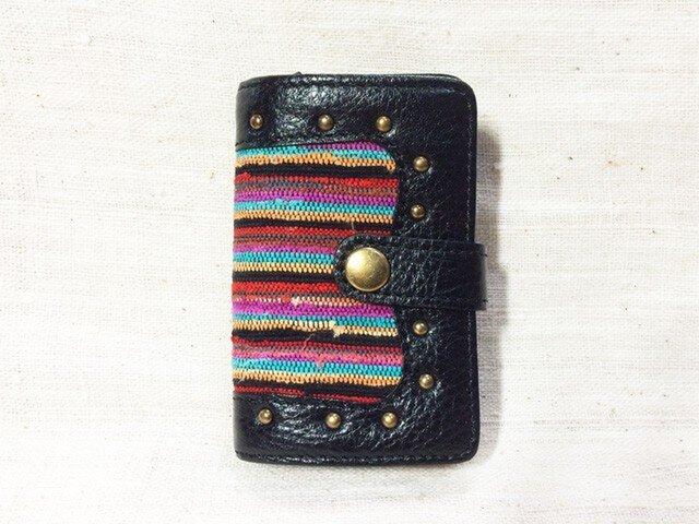 姫路レザーと正絹裂織のコインケース付きキーケース NO,2の画像1枚目