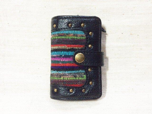 姫路レザーと正絹裂織のコインケース付きキーケース NO,4の画像1枚目