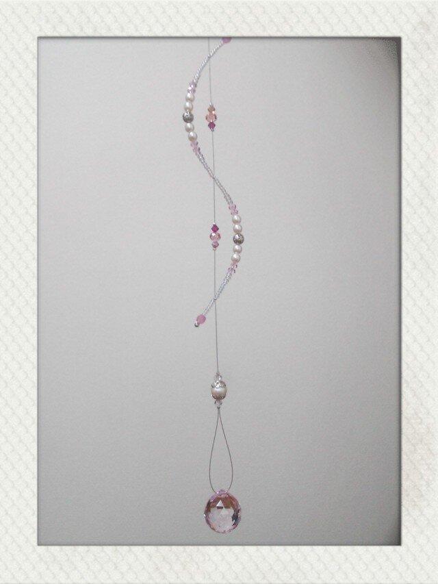 サンキャッチャー(ピンク・ビジュー・螺旋)の画像1枚目